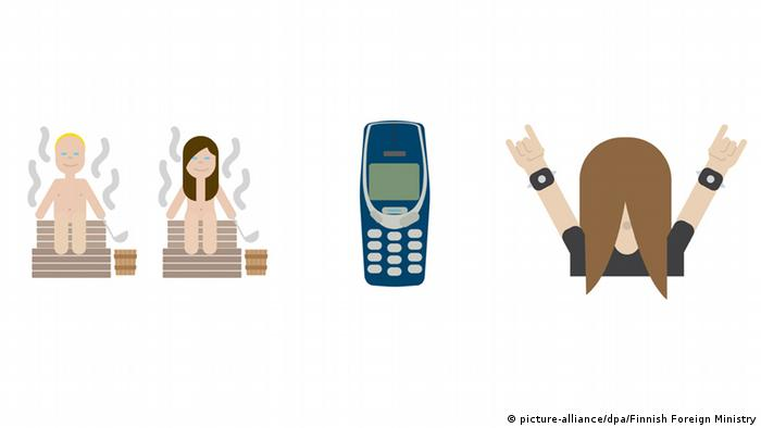 Finish Emojis: a couple at the sauna, Nokia 3310 and a metal head-banger (Photo: picture-alliance/dpa/Finnish Foreign Ministry)