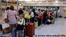 epa05013363 Russian tourists, depart from the Sham el-Sheikh airport in Sharm el- Sheikh, Egypt, 05 November 2015. Britain suspended flights from Egypt's Sharm el-Sheikh airport late 04 November 2015 after concerns that an 'explosive device' may have caused the weekend crash that killed 224 people on board a Russian plane flying from Sharm el-Sheikh to St. Petersburg in Russia. The British move followed reports by Russia's Interfax news agency on 03 November 2015 that unusual sounds were recorded in the cockpit as the Russian jet crashed in Egypt's Sinai Peninsula, and US media reports that satellite images had detected a heat flash at the time of the crash. EPA/KHALED ELFIQI picture-alliance/dpa/K.Elfiqi picture-alliance/AP Photo/T.Hartwell