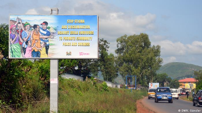 A sign in Sierra Leone warning against the discrimination of Ebola survivors