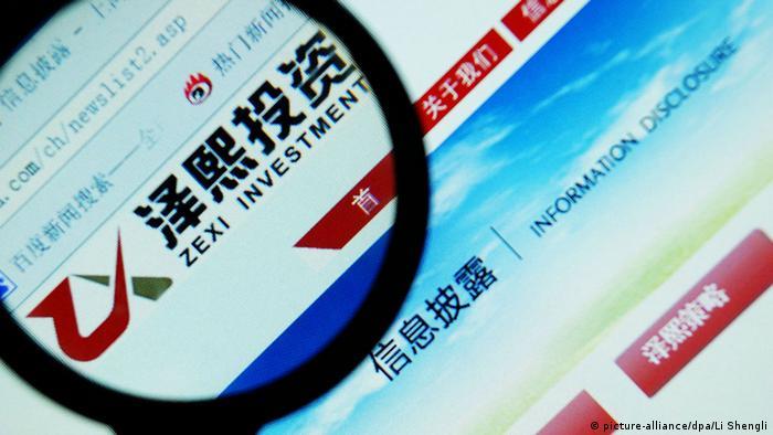Cina Zexi Investment Webseite (picture-alliance/dpa/Li Shengli)