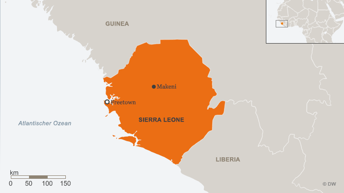 A map showing Sierra Leone between Guinea and Liberia