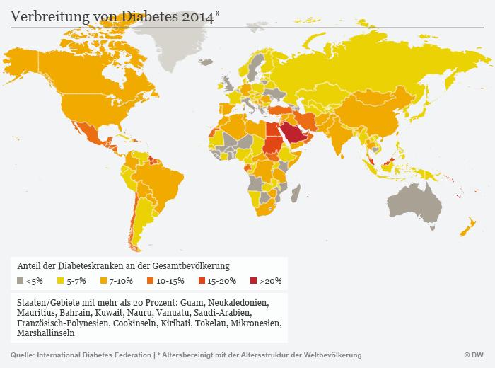 Karte Verbreitung von Diabetes 2014