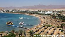 A general view of Na'ama Beach in Sharm el- Sheikh, Monday 25 July 2005, two days after the Sharm el-Sheikh bombings. Egyptian police raided villages near Sharm el- Sheikh on Monday 25 July 2005 searching for five Pakistanis wanted for questioning in connection with the Sharm al-Sheikh explosion. picture-alliance/dpa/K. Elfiqi