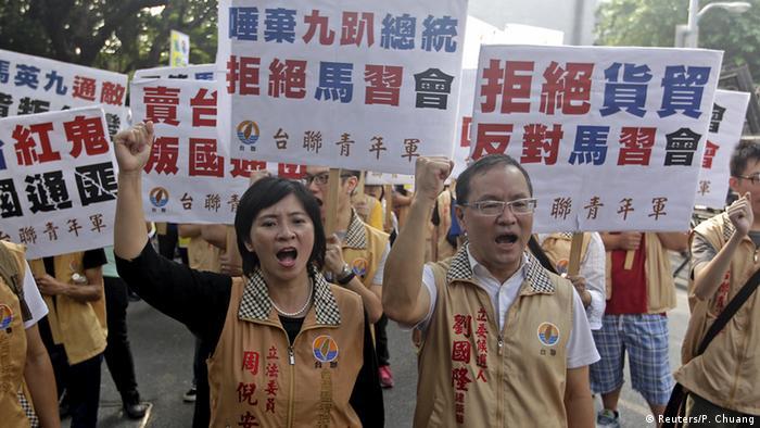 Taiwan Taipei Proteste gegen Treffen Ma Ying-jeou und Xi Jinping