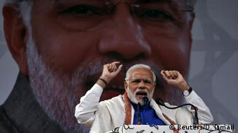 India's Prime Minister Narendra Modi addresses a rally in a cricket stadium in Srinagar (Photo: Reuters/D. Ismail)