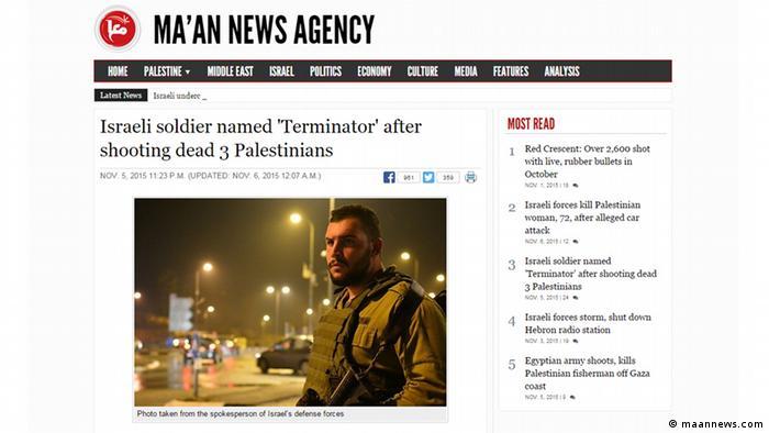 Screenshot Ma'an news agency