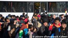 28.10.2015 *** Syrische Flüchtlinge verlassen am 28.10.2015 nahe Passau (Bayern) an der deutsch-österreichischen Grenze einen Reisebus. Laut Bundespolizeiinspektion werden am gleichen Tag an den Grenzorten Passau und Wegscheid 75 Busse mit etwa 3000 Migranten erwartet. Foto: Sebastian Kahnert/dpa (zu dpa «75 Busse mit Flüchtlingen aus Österreich in Niederbayern erwartet» vom 28.10.2015) +++(c) dpa - Bildfunk+++ Copyright: picture-alliance/dpa/S. Kahnert