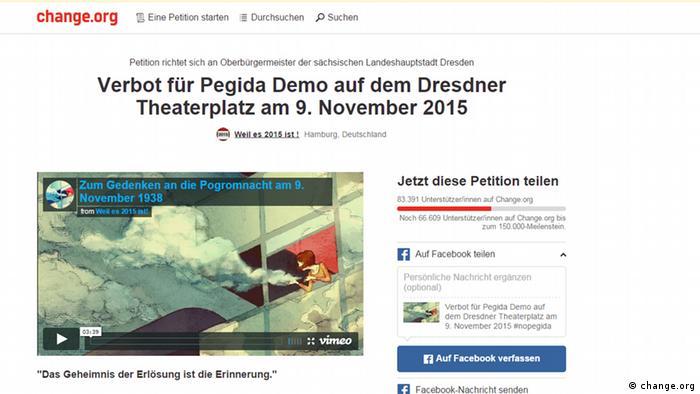 Screenshot Change.org Petition gegen Pegida