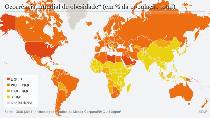 Infografik Verbreitung von Fettleibigkeit weltweit POR