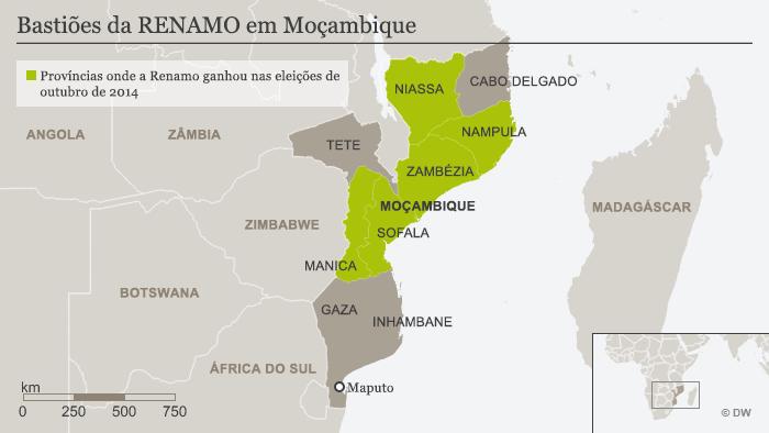Províncias onde a Renamo ganhou nas eleições de outubro de 2014 POR