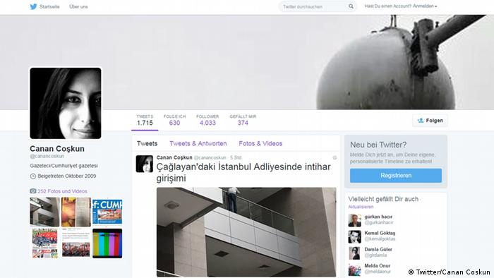 Screenshot Twitter Account Canan Coskun Türkei Journalistin