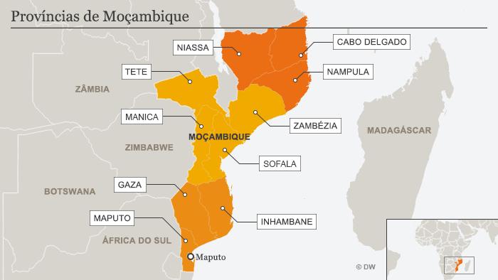 Infografik Karte Mosambiks Provinzen Portugiesisch