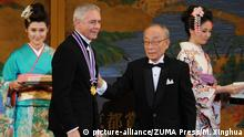 10.11.2015 *** KYOTO, Nov. 10, 2015 (Xinhua) -- John Neumeier (2nd, L), U.S. choreographer and artistic director of the Hamburg Ballet in Germany, won the 2015 Kyoto Prize in Arts and Philosophy in Kyoto, Japan, on Oct. 10, 2015. Three scholars were awarded Kyoto Prize at a ceremony on Tuesday in recognition of their great achievements in the fields of advanced technology, basic sciences and arts, respectively. (Xinhua/Ma Xinghua) (zhf picture-alliance/ZUMA Press/M. Xinghua
