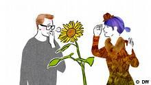 Illustration: Ein Mann und eine Frau unterhalten sich, zwischen ihnen ist eine große Sonnenblume
