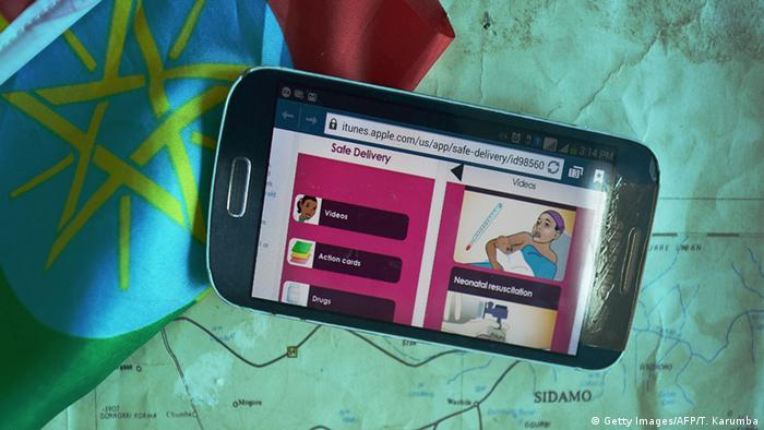 Handy-Anwendung Anleitung zur Geburt eines Kindes in Äthiopien