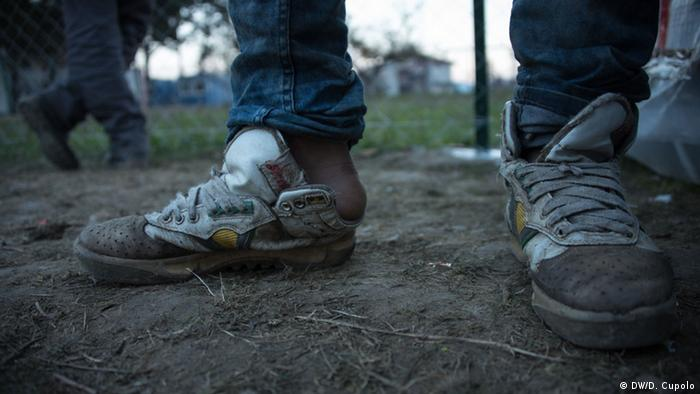 An Afghan refugee's shoes