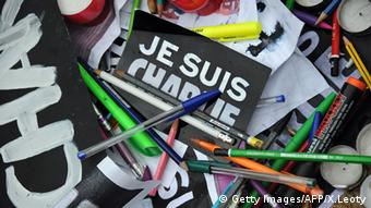 Je suis Charlie signs and pens, Copyright: Getty Images/AFP/X.Leoty
