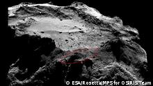 13.12.2014 ***** Title Lander search area Released 30/01/2015 3:00 pm Copyright see below Description An example of the OSIRIS narrow-angle camera mosaics being used to search for Rosetta's lander, Philae. The image is a slightly cropped 2 x 2 mosaic comprising images taken on 13 December 2014 from a distance of about 20 km to the centre of the comet. The lander, about 1 m across – the size of a household washing machine – would measure only about three pixels across in these images. The team are searching – by eye – for a set of three spots that correspond to the lander shape, but with the region strewn with boulders it is soon easy to identify multiple sets of three spots. Credits: ESA/Rosetta/MPS for OSIRIS Team MPS/UPD/LAM/IAA/SSO/INTA/UPM/DASP/IDA