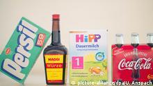 Produktverpackungen von Maggi Cola Persil und Hipp