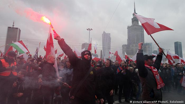 A demonstration against migration on Poland's Independence Day