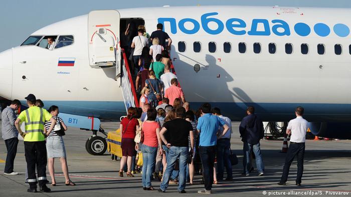 Посадка на самолет авиакомпании Победа