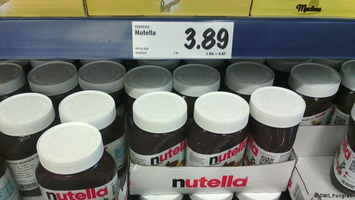 Nutela jars at Lidl supermarket, Germany