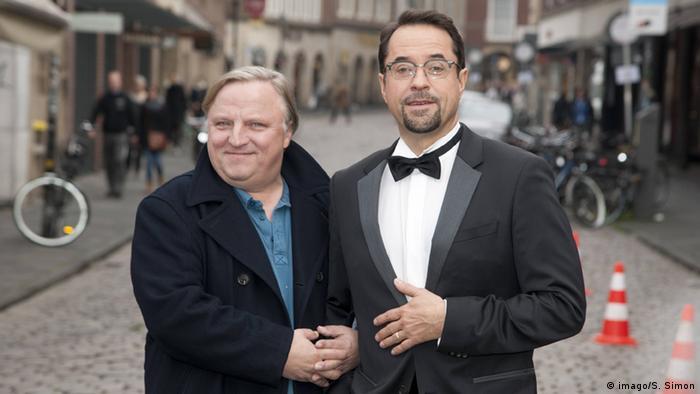 Die Hauptdarsteller Jan Josef Liefers und Frank Thiel von der Serie Tatort Münster (imago/S. Simon)