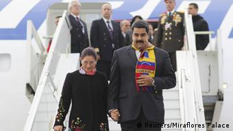 Maduro y su esposa, a su llegada a Ginebra.