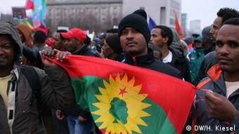 a group of Oromo activists demonstrating in Berlin