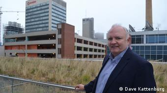 Architect Tom Akerstream in front of the Manitoba Hydro building (Photo: Dave Kattenburg)