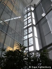 Water feature in the lung of the Manitoba Hydro building (Photo: Dave Kattenburg)