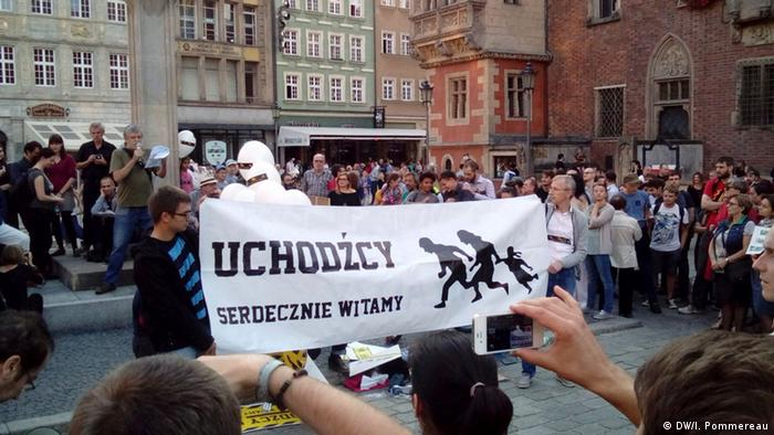 A 'Welcome refugees' really in Wroclaw