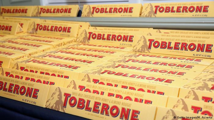 Bars of Toblerone choclate on display at a New York event.