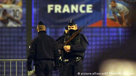 French police at the Stade de France following deadly attacks across Paris