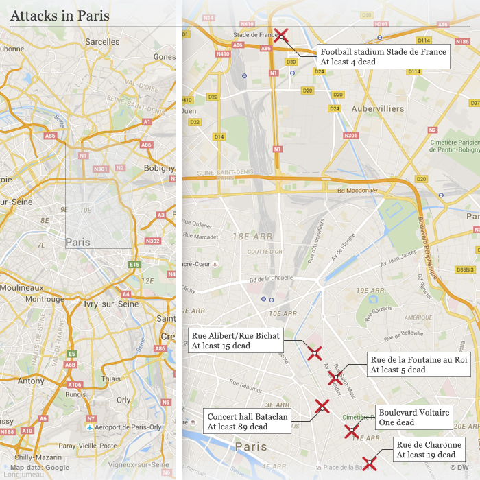 Bataclan Concert Hall Paris Map.Islamic State Claims Responsibility For Paris Attacks News Dw