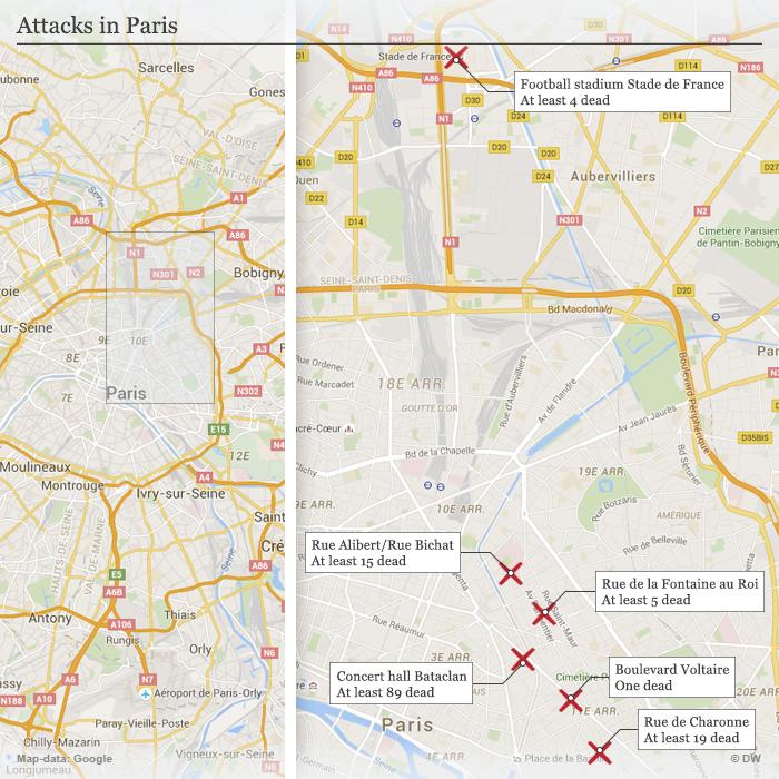 Infografik Karte Anschläge in Paris Englisch