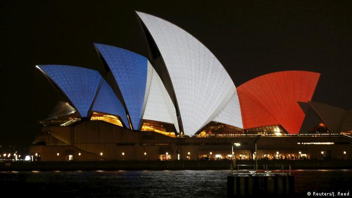 Opernhaus Sydney Australien Solidaritätswelle für Frankreich