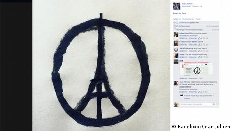 Peace for Paris, Eiffel Tower peace sign by Jean Jullien