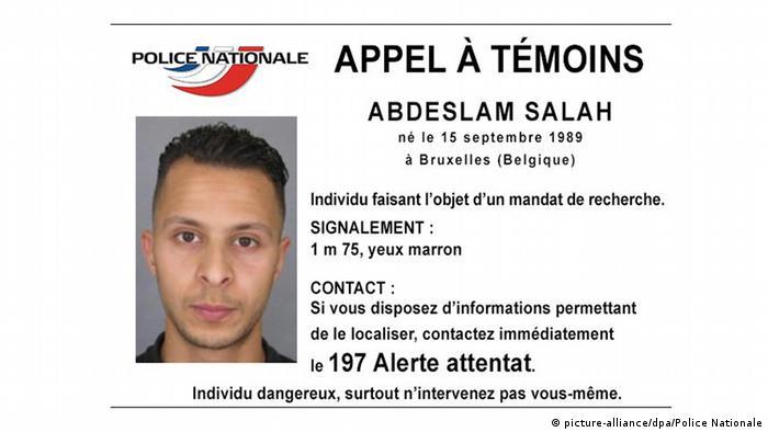 عبداسلام صلاح، فرد متواری مظنون به دست داشتن در ترورهای پاریس. این تصویر را وزارت کشور فرانسه منتشر کرده است
