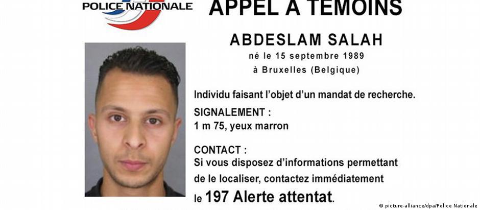 Alerta da polícia francesa sobre Salah Abdeslam