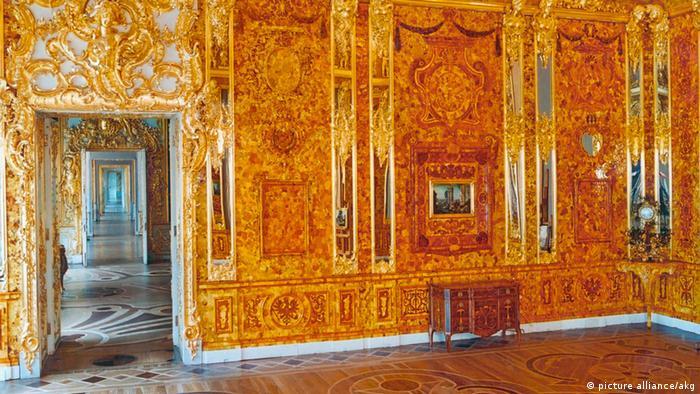 Réplica da luxuosa Câmara de Âmbar