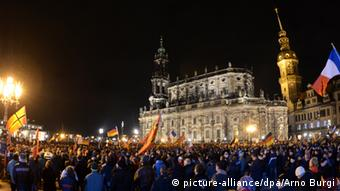 A PEGIDA rally on Dresden's Theaterplatz