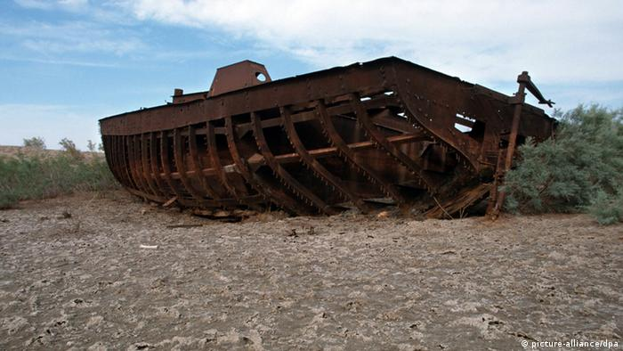 A shipwreck stranded in the dried up Aral Sea