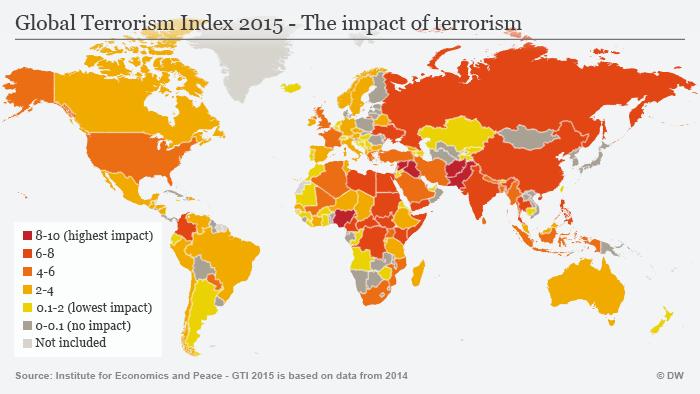 Infografik showing worldwide terror attacks in 2015