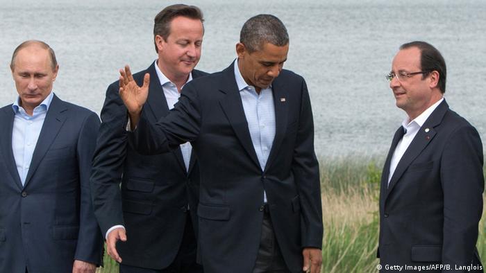 Лидеры РФ, Великобритании, США и Франции на встрече G8 в 2013 году