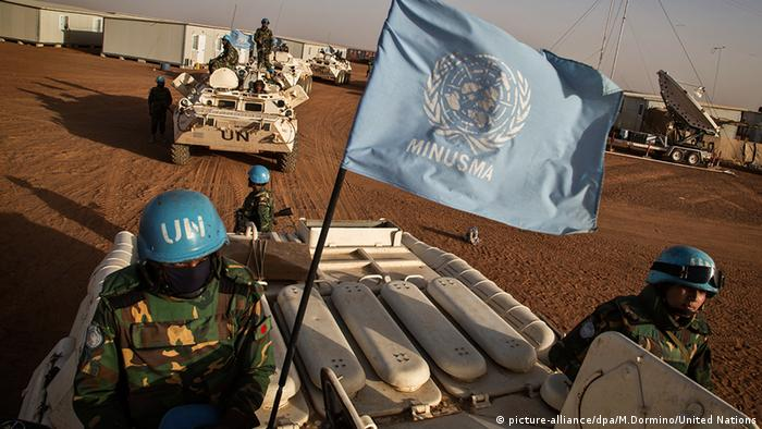 UN peacekeepers from Bangladesh arrive at the Niger Battalion Base in Ansongo, in eastern Mali