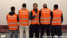 Germany - September 2014 German Muslim patrols in the city of Wuppertal called Shariah police The so called Shariah police use facebook to advert a supposed activity for an Islamic justice File by facebbok