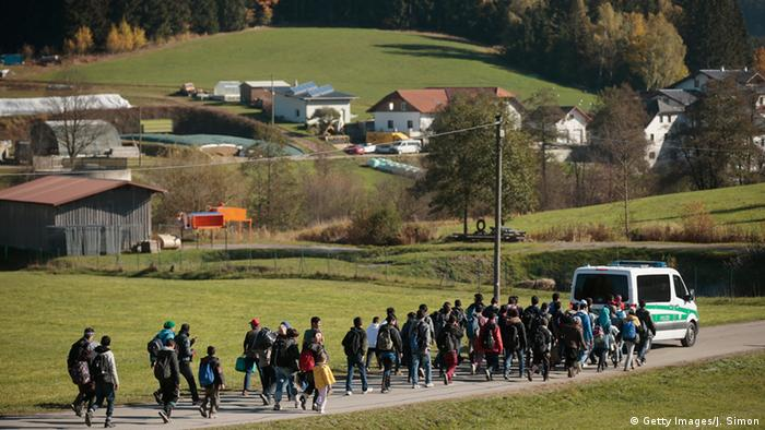 Refugees on the border between Austria and Germany