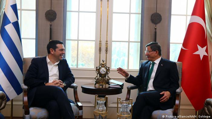 Greek Prime Minister Alexis Tsipras meets with his Turkish counterpart Ahmet Davutoglu