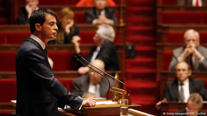 French Prime Minister Manual Valls speaking in parliament